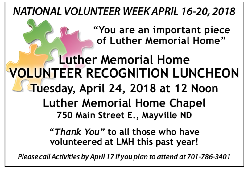 Luther Memorial Home Volunteer Recognition Luncheon