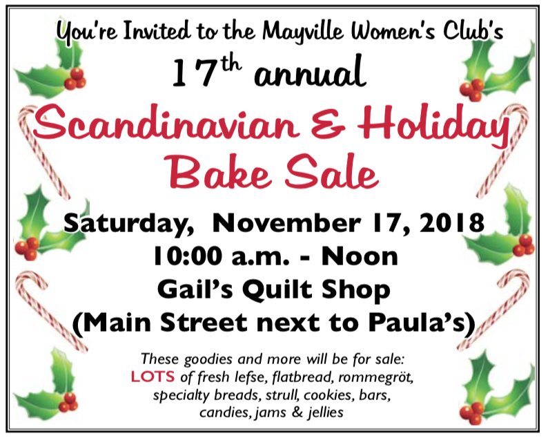 17th Annual Scandinavian & Holiday Bake Sale @ Gail's Quilt Shop