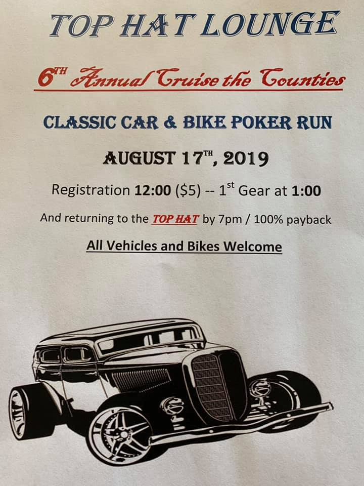 6th Annual Cruise the Counties Classic Car & Bike Poker Run @ Top Hat
